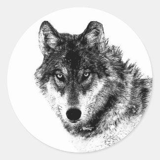 Black White Inspirational Wolf Eyes Classic Round Sticker