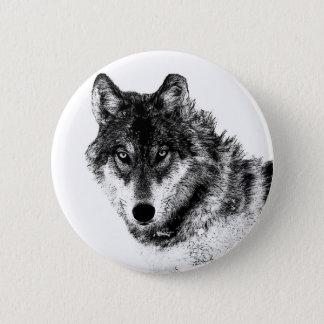 Black White Inspirational Wolf Eyes Pinback Button