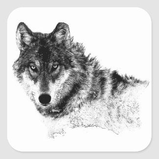 Black White Inspirational Wolf Eyes Square Sticker