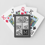 Black White Instagram 5 Photo Collage Monogram Bicycle Playing Cards