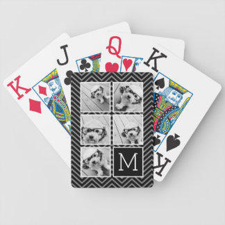 Black White Instagram 5 Photo Collage Monogram Bicycle Playing Cards