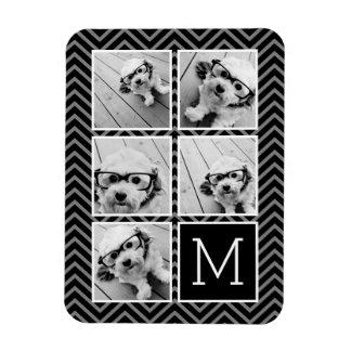 Black White Instagram 5 Photo Collage Monogram Rectangular Photo Magnet