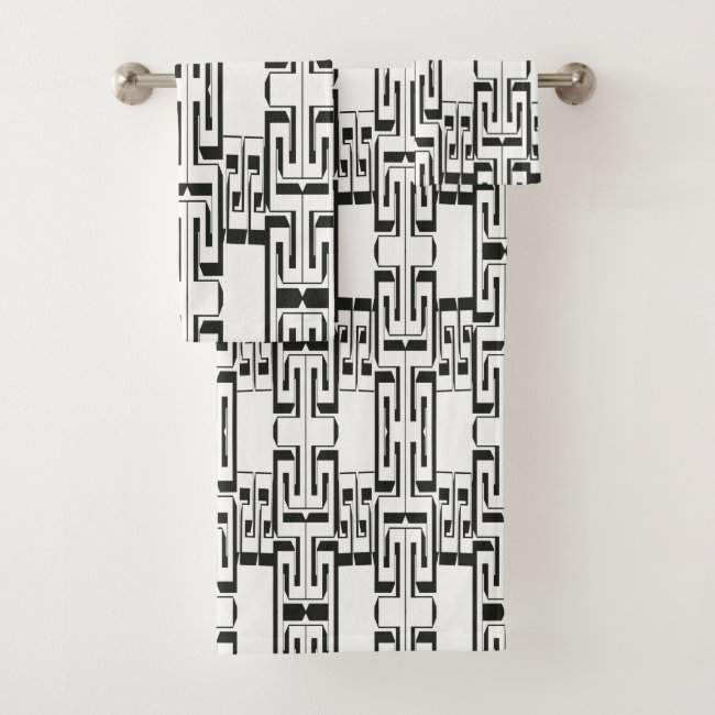 Black White Interlocking Maze Pattern Bath Towels