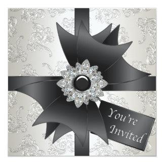 "Black White Ivory Damask Party 5.25"" Square Invitation Card"