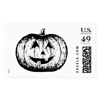 Black & White Jack-O-Lantern 2.png Postage