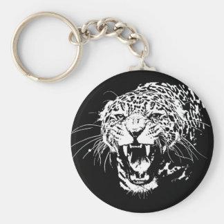 Black & White Jaguar Basic Round Button Keychain