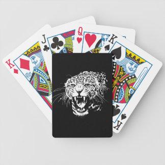 Black & White Jaguar Bicycle Playing Cards