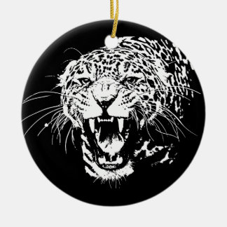 Black & White Jaguar Ceramic Ornament
