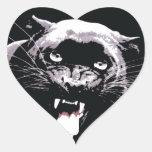 Black & White Jaguar Eyes Heart Sticker