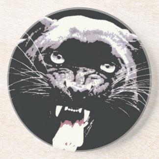 Black & White Jaguar Eyes Sandstone Coaster