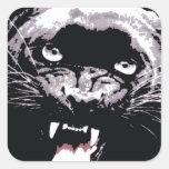 Black & White Jaguar Eyes Square Sticker
