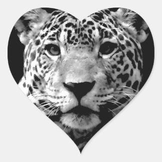 Black & White Jaguar Heart Sticker