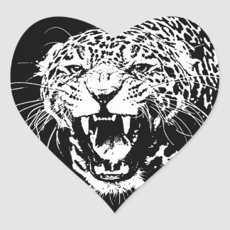 Black & White Jaguar Heart Sticker