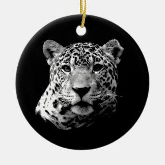 Black & White Jaguar Double-Sided Ceramic Round Christmas Ornament