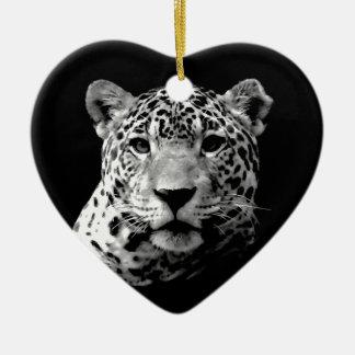 Black & White Jaguar Double-Sided Heart Ceramic Christmas Ornament