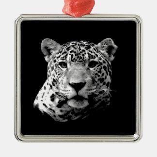 Black & White Jaguar Square Metal Christmas Ornament