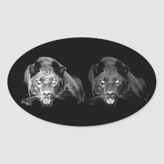 Black & White Jaguar Oval Sticker