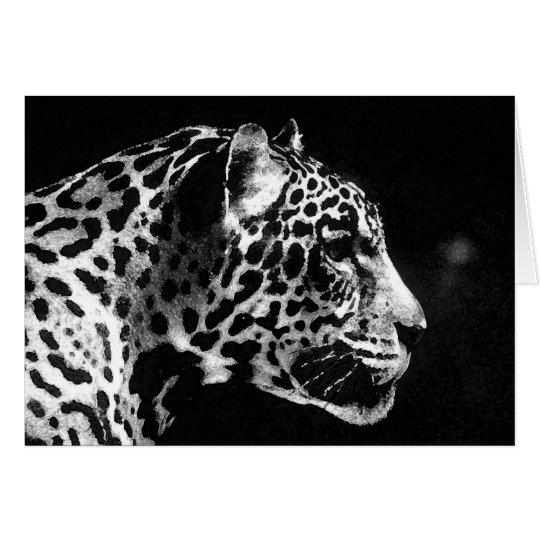 Black & White Jaguar Pop Art Card