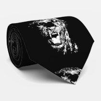 Black White Jaguar Pop Art Tie