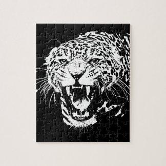Black White Jaguar Jigsaw Puzzles