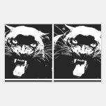Black & White Jaguar Rectangular Stickers