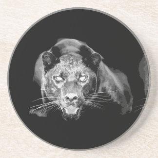 Black & White Jaguar Sandstone Coaster