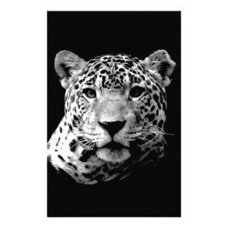 Black White Jaguar Personalized Stationery
