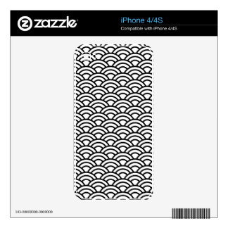 Black & White Japanese Fish Scale Circle Geometric Decals For iPhone 4