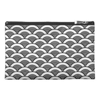Black White Japanese Wave Pattern Travel Accessory Bags