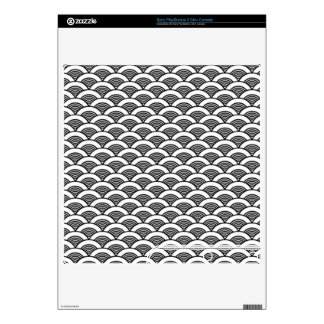 Black White Japanese Wave Pattern Decals For PS3 Slim