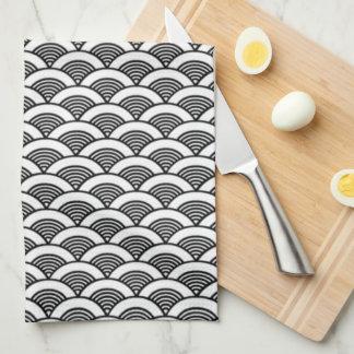 Black White Japanese Wave Pattern Kitchen Towel