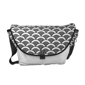 Black White Japanese Wave Pattern Courier Bags