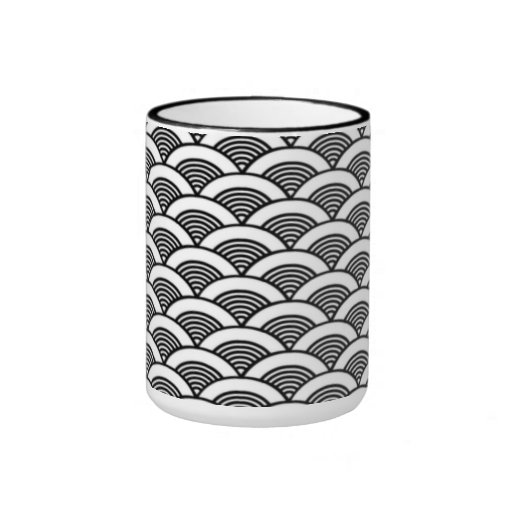 Black White Japanese Wave Pattern Ringer Mug