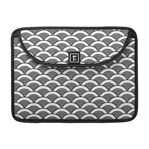 Black White Japanese Wave Pattern Sleeve For MacBook Pro