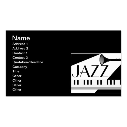 BLACK WHITE JAZZ MUSIC GRAPHIC BUSINESS CARD TEMPLATE