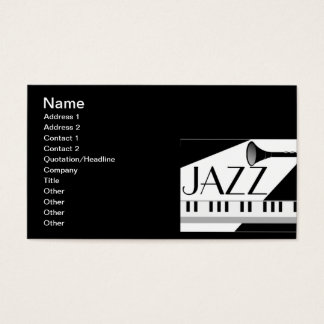 BLACK WHITE JAZZ MUSIC GRAPHIC BUSINESS CARD