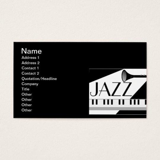 BLACK WHITE JAZZ MUSIC GRAPHIC BUSINESS CARD
