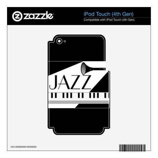 BLACK WHITE JAZZ MUSIC GRAPHIC iPod TOUCH 4G SKIN