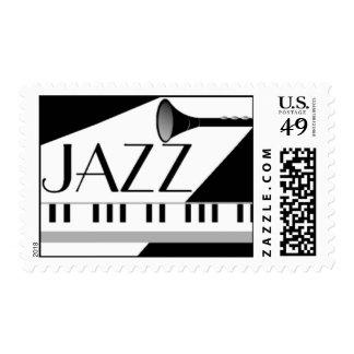 BLACK WHITE JAZZ MUSIC GRAPHIC POSTAGE