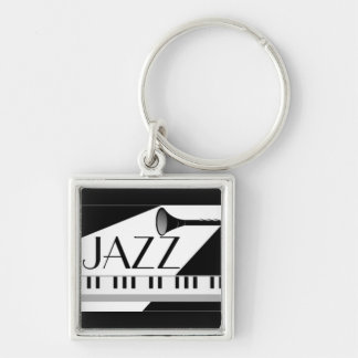 BLACK WHITE JAZZ MUSIC GRAPHIC Silver-Colored SQUARE KEYCHAIN