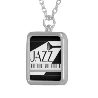 BLACK WHITE JAZZ MUSIC GRAPHIC SILVER PLATED NECKLACE