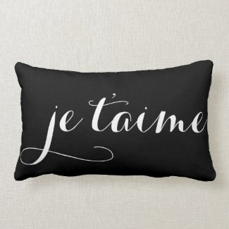 Black & White Je T'aime French Calligraphy Pillow