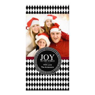 "Black White ""JOY TO THE WORLD"" Holiday Photo Card"