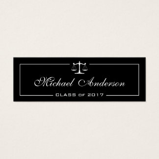 Black White Justice of Scale Law School Student Mini Business Card
