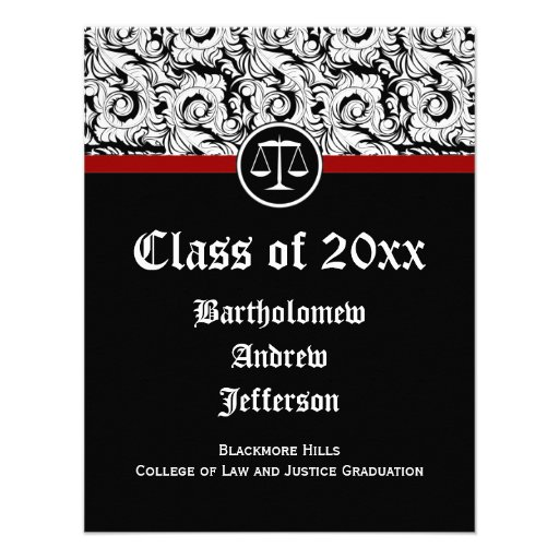 Black/White Justice Scales Law School Graduation Custom Invites