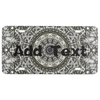 black white kaleidoscope pattern license plate
