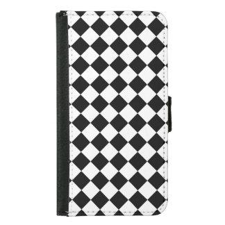 Black White Karo Pattern Wallet Phone Case For Samsung Galaxy S5