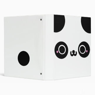 Black White Kawaii Panda Face 3 Ring Binder