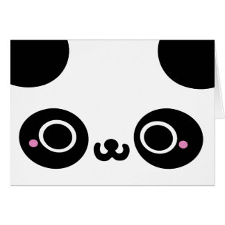 Black White Kawaii Panda Face Card
