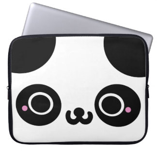 Black White Kawaii Panda Face Computer Sleeve